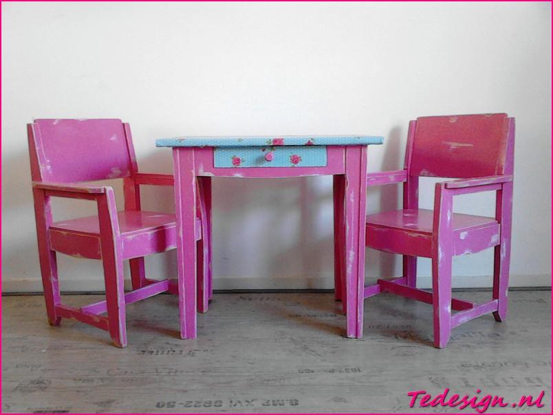 Oud roze kindermeubel set - Tafel roze kind ...