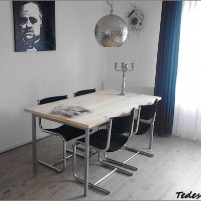 steigerhouten eetkamer set met 4 stoelen
