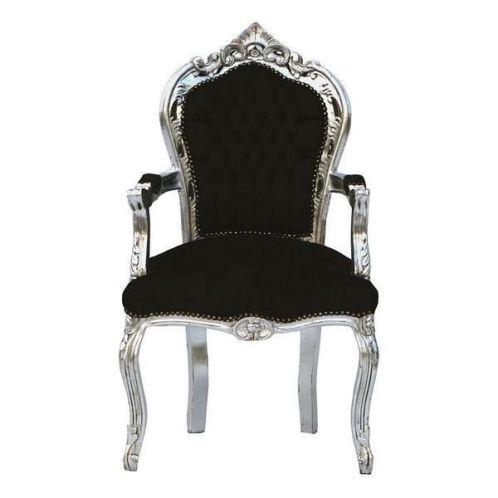 Barok eetkamerstoel met armleuning zilver zwart - Zwarte eetstoel ...