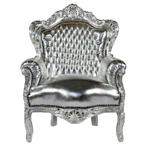 Baroktroon fauteuil chrome zilver for Tweedehands design fauteuil