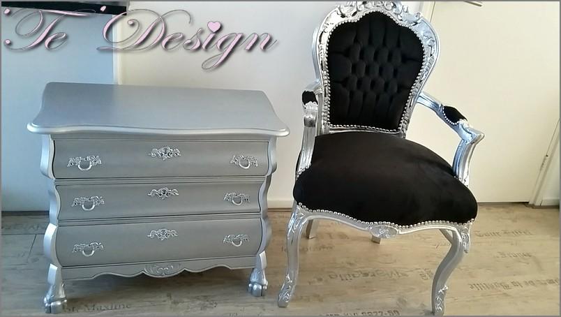 Buikkast zilver en barokfauteuil zilver   Te Design
