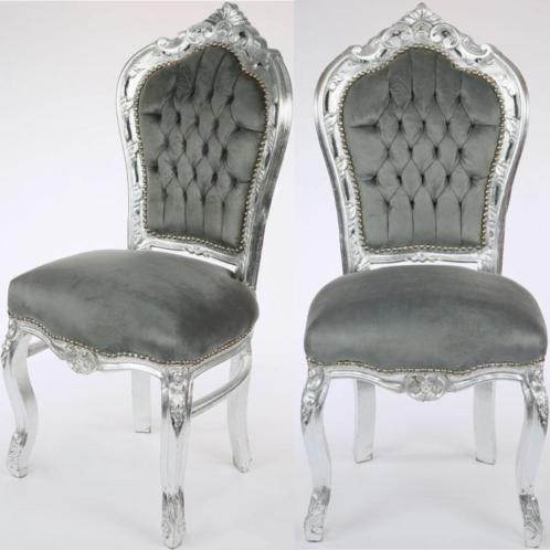 Beautiful barok armstoel zilvergrijs with barok stoelen for Tweedehands eetkamerstoelen