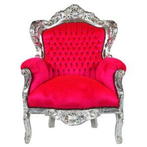 barok fauteuil fuchsia zilver Tedesign.nl