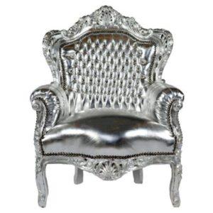 barok troonfauteuil chrome zilver
