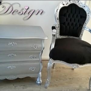 barok stoel zwart zilveren buikkast