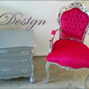roze barokstoel buikkast zilver