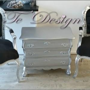 zilveren buikkast barok stoelen met armleuning