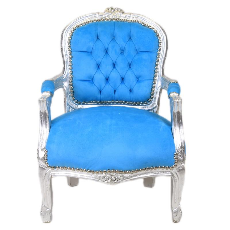 kinder barok stoel blauw zilver