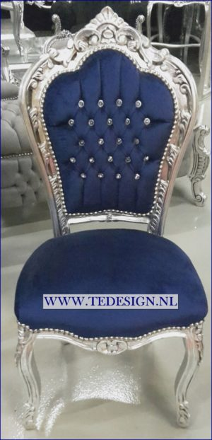 donkerblauwe barok stoel